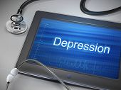 image of antidepressant  - depression word display on tablet over table - JPG