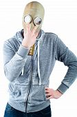 foto of gas mask  - A young man wears a gas mask isolated over a white background - JPG