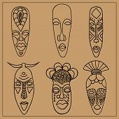 image of african mask  - A set of six African masks - JPG