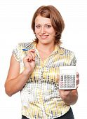 Smiling Young Businesswoman With Pen And Calculator