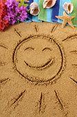 picture of hawaiian flower  - Smiling sun drawn on an Hawaiian beach with traditional flowers beach towel starfish and flip flops - JPG