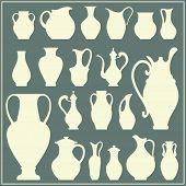 foto of crockery  - Vector silhouettes of vases - JPG
