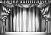 stock photo of curtains stage  - Stage with White Curtain - JPG