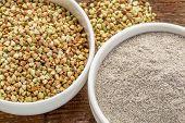 pic of buckwheat  - gluten free buckwheat grain and flour  - JPG