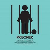 pic of jail  - Prisoner In Jail Black Symbol Vector Illustration - JPG