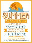 stock photo of beach party  - Summer Beach Party template - JPG