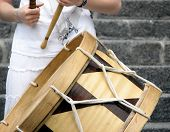 Girl Playing Brazilian Alfaia Drum