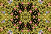 image of vintage jewelry  - abstract green bead kaleidoscope background with pink and black - JPG