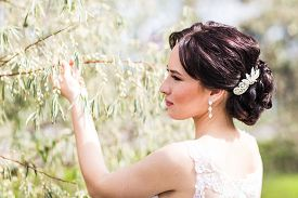 stock photo of wedding  - Beautiful bride in wedding dress and bridal bouquet - JPG