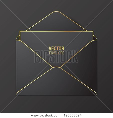 poster of Black vector envelope template. Black opened envelope with golden elements, lying on a red background. Realistic mockup.