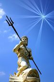 stock photo of poseidon  - Statue Of Poseidon with copy space - JPG