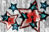 Red And Blue Stars Grunge