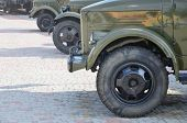 Photo Of The Cabins Of Three Military Off-road Vehicles From The Times Of The Soviet Union. Side Vie poster