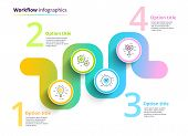 Business Process Chart Infographics With 4 Step Circles. Circular Corporate Workflow Graphic Element poster