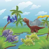 Cartoon Dinosaurs Scene.