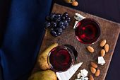 Red Wine And Snacks. Wine, Grapes, Cheese, Nuts, Olives. Romantic Evening, Still Life. poster
