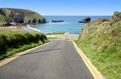 Narrow Steep Road To Portreath, Cornwall, Uk.