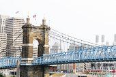 Cincinnati'S Historical Suspension Bridge poster