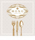 Vector template ornate  menu with vintage cutleries (cutleries with clipping mask)