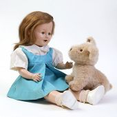 Vintage Doll With Stuffed Puppy