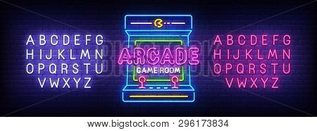 poster of Arcade Games Neon Sign, Bright Signboard, Light Banner. Game Logo, Emblem And Label. Neon Sign Creat