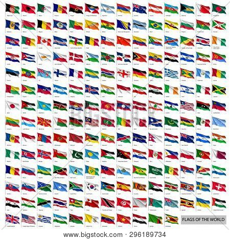 poster of Wavy Worldwide National Flags On Flagpoles. Realistic All World Countries Flags Isolated On White Ba