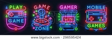 poster of Neon Game Signs. Retro Video Games Night Light Icons, Virtual Gaming Club Emblems, Arcade Glowing Po
