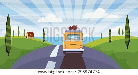 poster of Travel Van Camper, Bus On The Road Goes To The Sea For A Summer Vacation. Holiday Season Vacation At