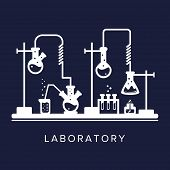 Education And Science Concept. Chemistry, Pharmacy Or Research Laboratory. Science Equipment. Chemis poster