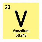Illustration Of Periodic Table Element Vanadium Icon On White Background poster