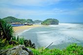 Natural Views Of The South Coast In The Yogyakarta Region. This Beach Is Named drini Beach. This B poster