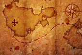stock photo of treasure map  - old map with a compass on it - JPG