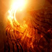golden abstract background with music notes