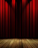 stock photo of opulence  - red theater curtain with various soft light sources - JPG