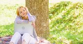 Girl Laptop Dreaming In Park Sit On Grass. Dream About Successful Project. Woman Dreamy With Laptop  poster