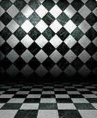 stock photo of dungeon  - Black And White Check Grunge Room - JPG