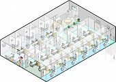 Hospital Wards Vector Isometric