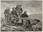 Coal sorters women old engraved portrait (Le Creusot, France). Created by Neuville after photo of un