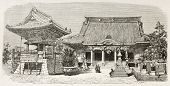 Buddhist temple in Kawasaki, Japan. Created by Therond after photo by unknown author, published on L