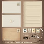 Vector set: Vintage postcard designs and blank paper.