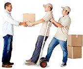 Men delivering a package isolated over a white background - delivery services
