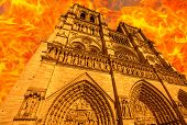 Composition Of The Fire In French Gothic Architecture Of Notre Dame Cathedral Of Paris, France In Ap poster