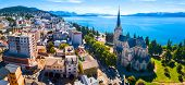 Aerial panorama of the city of Bariloche, Argentina poster