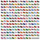 Wavy Worldwide National Flags On Flagpoles. Realistic All World Countries Flags Isolated On White Ba poster