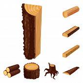 Vector Design Of Signboard  And Wood Symbol. Set Of Signboard  And Wooden Stock Symbol For Web. poster