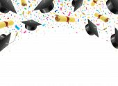 Graduate Caps And Diplomas Flying With Multi Colored Confetti. Academic Hats In Air With Ribbons poster