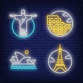 Landmarks Neon Sign Set. Christ The Redeemer, Eifel Tower, Colosseum. Colorful Billboard, Bright Ban poster