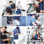 Young professional plumber doing reparation. Collage background.