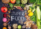 Super Food Selection. Various Super Foods And Healthy Foods, Detox, Fiber Rich Food poster