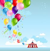 Circus tent and balloons with space for text